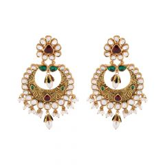 Matte Antique Finish Embossed Design Multicolour Stone Drop Pearl Kundan Chanbali Earring- NCK158