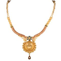 Glossy Matte Finish Engraved Multicolour With Floral Meenakari Gold Necklace - NCK1861