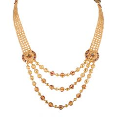 Glossy Finish Multilayer With Multicolour Meenakari Gold Ball Necklace - NCK1915