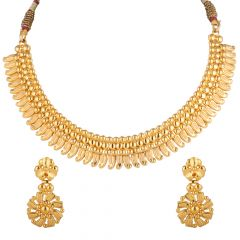 Glossy  Finish Gold Ball Beads Chocker Necklace - NCK1923