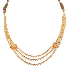 Glossy Diamond Cut Finish Floral Multilayer Gold Ball Necklace Set - NCK1933