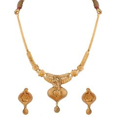 Glossy Matte Diamond Cut Finish Floral Gold Necklace Set - NCK1936