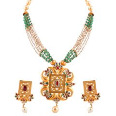 Matte Sand Blast Finish Synthetic Pearl With Red And Green Stone Kundan Necklace Set - NCK269