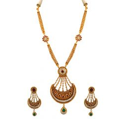 Elegant Antique Finish Embossed Moon Design With Multicolour Stone And Kundan Studded Necklace Set - NCK277
