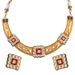 Glossy Stamp Finish Red With Kundan Stone Studded Choker Necklace Set - NCK357
