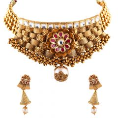 Elegant Antique Finish Embossed Design With Floral Red Stone Drop Synthetic Pearl Choker Kundan Necklace Set - NCK358