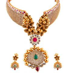 Glossy Filigree Floral Ruby With Emerald Kundan Chocker Necklace Set - NCK359