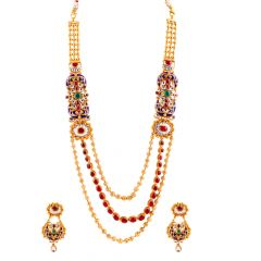 Glossy Glittering Multi layer Kundan With Red Green Stone Enamel Necklace Set - NCK367
