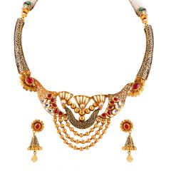 Glossy Satin Antique Finish Filigree Multilayer Drop Gold Ball Red With Kundan Stone Necklace Set - NCK386