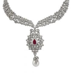 Dazzling  Round Brilliant And Channel Set Baguette With Synthetic Ruby Drop Pearl Diamond Rhodium Necklace Set - ND13-JD63