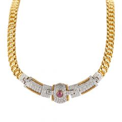 Sparkling Diamond With Cabochon Cut Ruby Necklace Set - ND22-JD88