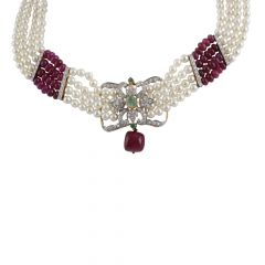 Royal Pearl Ruby Bead With Green Stone Diamond Rhodium Necklace  - ND6