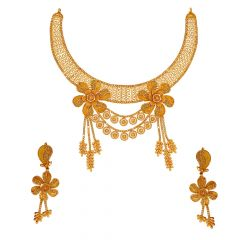 Traditional Cutout Embossed Floral Gold Necklace Set
