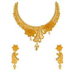 Classical Textured Cutout Floral Leaf Gold Necklace Set