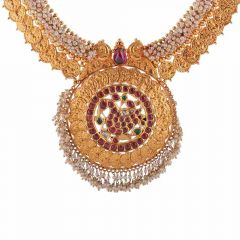 Antique Finish Tranditional Peacock Design Studded With Synthetic Colour Stone Drop Pearl Kundan Gold Necklace-NEC220