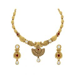 Antique Textured Paisley Kundan Gemstone Necklace