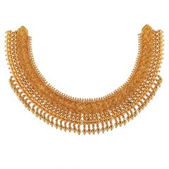 Traditional Antique Finish Drop Gold Ball Design Necklace-NEC2573