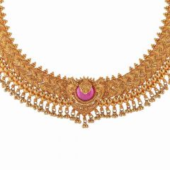 Matte Finish Peacock Design Studded With Synthetic Pink Stone Drop Gold Ball Necklace-NEC2620