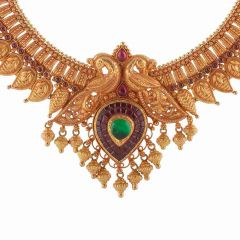 Anitque Finish Leafy Peacock Traditional Design Studded With Synthetic Multicolor Stone Drop Gold Ball Necklace-NEC2659