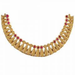 Glossy Finish Leafy Textured Design Synthetic Red Stone Studded Chocker Gold Necklace-NEC2749