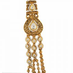 Antique Finish Multi Layer Design With Gold Ball Studded Synthetic Pearl Kundan Necklace-NEC2752