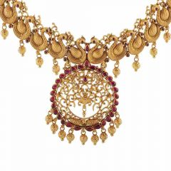 Matte Antique Finish Swan Filigree Design Studded With Synthetic Red Stone Drop Gold Ball Necklace -NEC2863