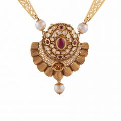 Matte Textured Finish Filigree Leafy Design Studded With Snythetic Drop Pearl Kundan Gold Necklace-NEC2881