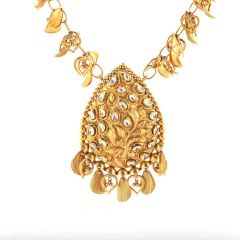 Antique Finish Drop Heart Charm Design With Gold Ball Kundan Necklace-NEC2910