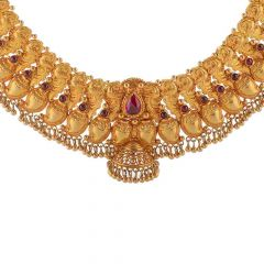 Antique Finish Temple Design Studded With Synthetic Red Stone Drop Gold Ball Necklace-NEC2929