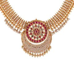 Glossy Finish Jadau Pearl Design Studded With Synthetic Stone Gold Ball Kundan Necklace-NEC304