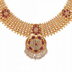 Antique Finish Floral Design Studded With Synthetic Red Stone Drop Pearl Kundan Necklace-NEC314