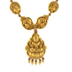 Matte Antique Finish Temple Peacock Design Studded With Synthetic Red Stone Gold Necklace-NEC343