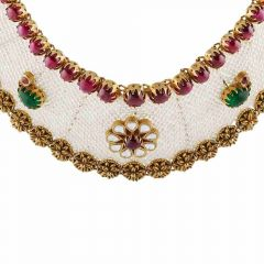 Elegant Textured Finish Floral Design Studded With Synthetic Pearl Colour Stone Kundan Gold Necklace-NEC369