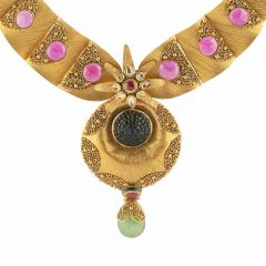 Antique Finish Textured Floral Drop Circle Design Studded With Synthetic Multicolor Stone Kundan Gold Necklace-NEC372