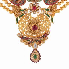 Glossy Multicolor Enamel Design With Red Green Synthetic Stone Kundan Chokar Gold Necklace-NEC423