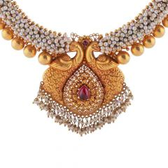Antique Finish Peacock Design studded With Synthetic Red Stone Drop Pearl Gold Ball Necklace-NEC4340