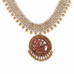 Anitque Finish Filigree Drop Circle Gold Ball Design Studded With Synthetic Red stone Peacock Kundan Necklace-NEC4508