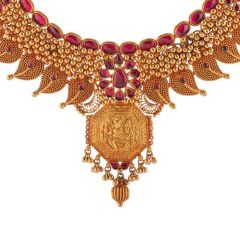Antique Matte Finish Synthetic Red Stone Studded Temple Design Gold Necklace-NEC4523