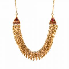 Jumbled Links Gold Ball Design Studded With Synthetic Red Stone Necklace-NEC4590