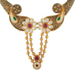 Antique Finish Textured Peacock Floral Design Studded With Synthetic Colour Stone Kundan Drop Gold Ball Necklace-NEC4601