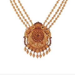 Antique Finish Temple Peacock Floral Design Studded With Synthetic Stone Drop Gold Ball Necklace-NEC4605