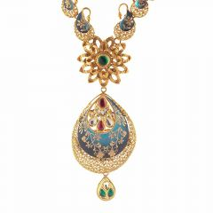 Glossy Finish Filigree Floral With Pear Drop Enamel Design Studded With Synthetic Colour Stone Kundan Gold Necklace-NEC467