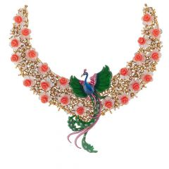 Elegant Blossom Rose With Synthetic Multi Colour Stone Studded Peacock Jewellery Design Gold Necklace -NEC627