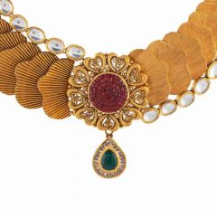 Antique Textured Finish Filigree Heart Leafy Design With Pear Drop Synthetic Multicolor Stone Kundan Gold Necklace-NEC766