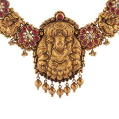 Antique Finish Temple Design With Studded Synthetic Cabochon Cut Red Stone Kundan Drop Gold Necklace-NEC851
