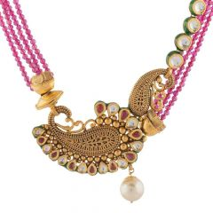 Antique Finish Peacock Design With Synthetic Drop Pearl Kundan Gold Necklace-NEC874