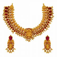 Matte Finish Antique Temple Design Studded With Synthetic Ruby Gold Necklace Set