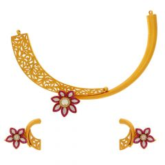 Glossy Matte Finish Filigree Floral Design Studded With Synthetic Kundan Swaroski Gold Necklace Set