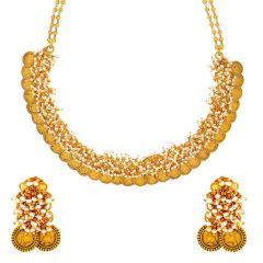 Matte Finish Victoria Queen Coins With Synthetic Pearl Design Gold Necklace Set