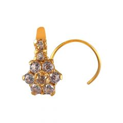 18kt  Gold With CZ Paveset Nose Pin -NJ1